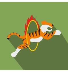 Tiger in flaming hoop vector image
