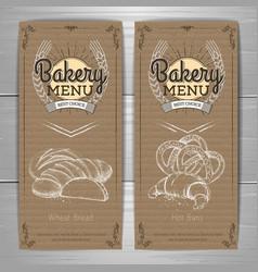 Vintage bakery menu design on cardboard vector