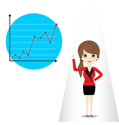 Young woman presenting business graph vector image vector image