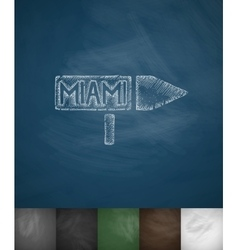 Pointer to miami icon hand drawn vector