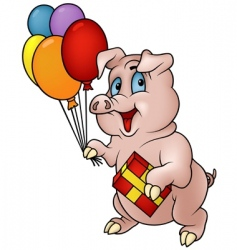 pig with gift vector image
