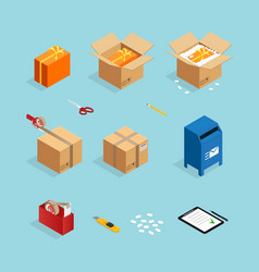 Parcel post packing set vector