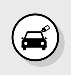 Car sign with tag  flat black icon in vector