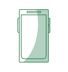 Green silhouette shading tech voice recorder icon vector