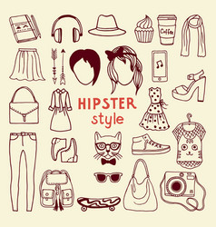 Funky hipster style elements of female different vector