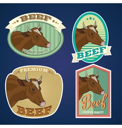 Beef vintage labels set vector