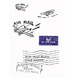 Several stamps of old air mail - hand drawn vector