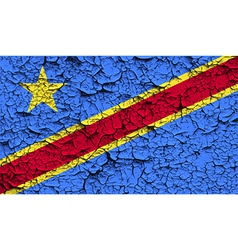 Flag of congo democratic republic with old texture vector