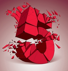3d low poly red number 5 with black connected vector image