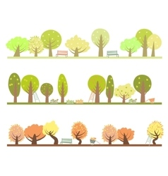 Set of three seasons in the garden vector