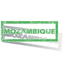 Green outlined mozambique stamp vector