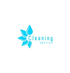 Cleaning service logo blue fresh water drops vector