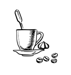 Coffee cup with cream and beans vector