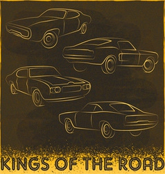 60s car design silhouettes vector