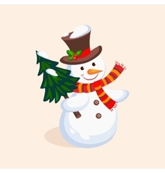 Cheerful snowman holding a christmas tree vector