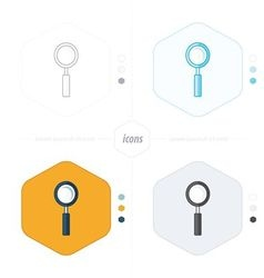 Magnifying glass icons 4 design vector