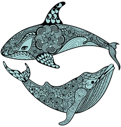 Zentangle stylized Blue Sea Shark and Whale Hand vector image