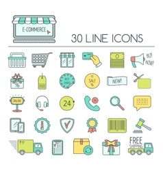 Set of e-commerce line icons color modern line vector