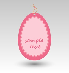 Pink easter egg tag label vector