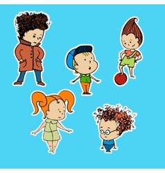 A group children stickers vector