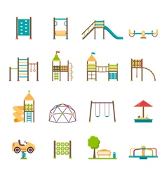 Playground flat icons set vector