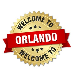 Orlando 3d gold badge with red ribbon vector
