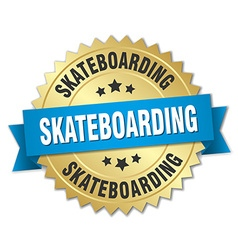 Skateboarding 3d gold badge with blue ribbon vector
