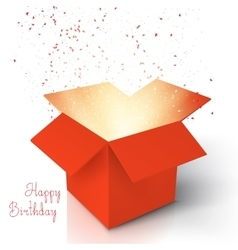 Happy birthday realistic magic open box magic box vector