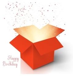 Happy Birthday Realistic Magic Open Box Magic Box vector image