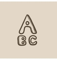 Letters painted in bold sketch icon vector