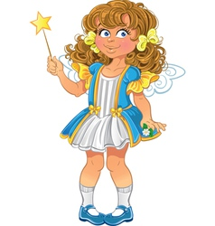 Pretty little girl with magic wand vector