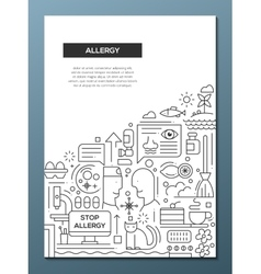 Allergy - line design brochure poster template A4 vector image