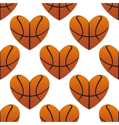 Basketball hearts in a seamless pattern vector image