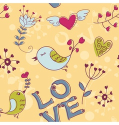 birds seamless love darkyellow vector image vector image