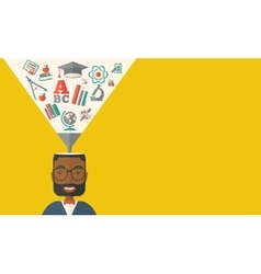 Black man with icons student ideas vector
