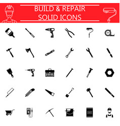 Build and repair solid icon set vector