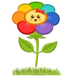 Cartoon smiling flower happy daisy isolated on vector