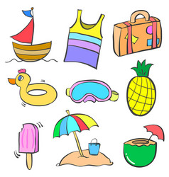 Collection stock summer object doodle set vector