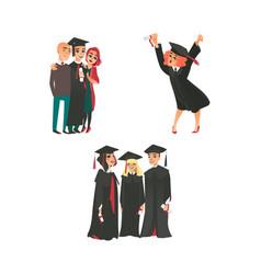 college graduates happy girl parents classmates vector image vector image