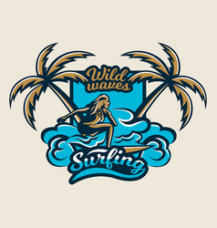 colorful logo emblem sticker surfer girl is vector image