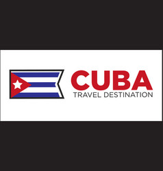 Cuba travel destination sign vector
