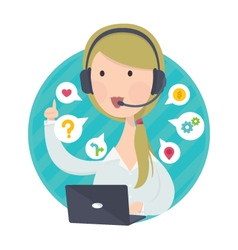 Customer support help desk woman blond hair vector