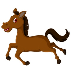 Cute brown horse cartoon running vector