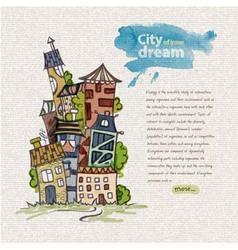 decorative sketch of city vector image vector image