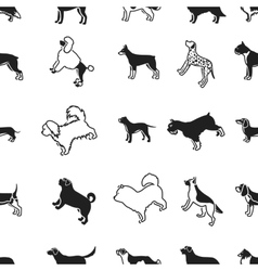 Dog breeds pattern icons in black style big vector