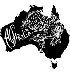 Echidna on map of australia vector