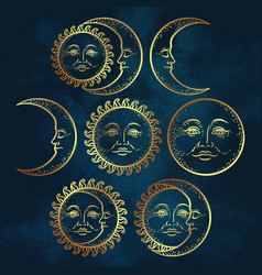 flash tattoo design hand drawn gold sun and moon vector image vector image