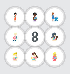Flat icon parent set of mam kid baby and other vector