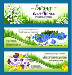 Hello spring flowers wreath banners set vector