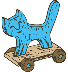 kids toy wooden cat on a board with wheels vector image
